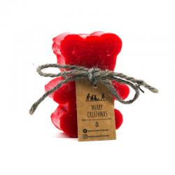 Teddy bear Christmas Soap with red rose