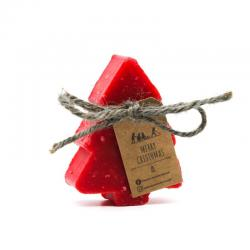 Pine tree Christmas Soap with Red Rose