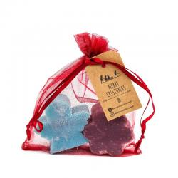 Organza Gift Bag with Christmas Soaps - angel +flower