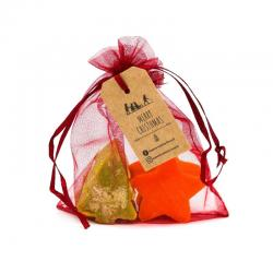 Organza Gift Bag with Christmas Soaps - Pine tree+Star